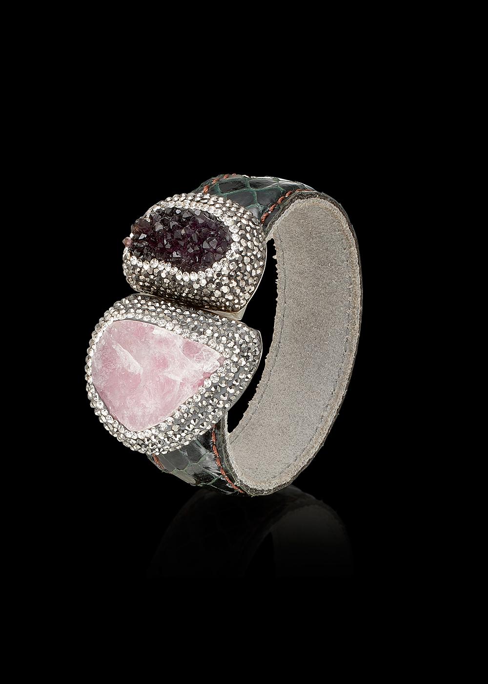 GERONIMO bracelet with Rose Quartz, Amethyst, Swarowski Crystals and Snakeskin. Kr. 1995,- $ 280