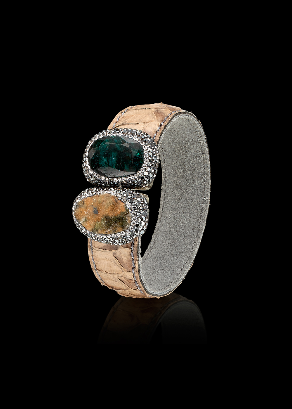GERONIMO bracelet with Tourmaline, Calcedonia, Swarowski Crystals and Snakeskin