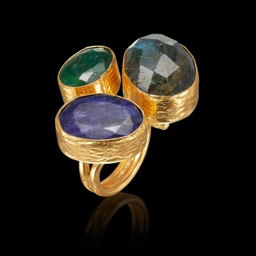KYBRA ring with Emerald, Sapphire and Labradorite