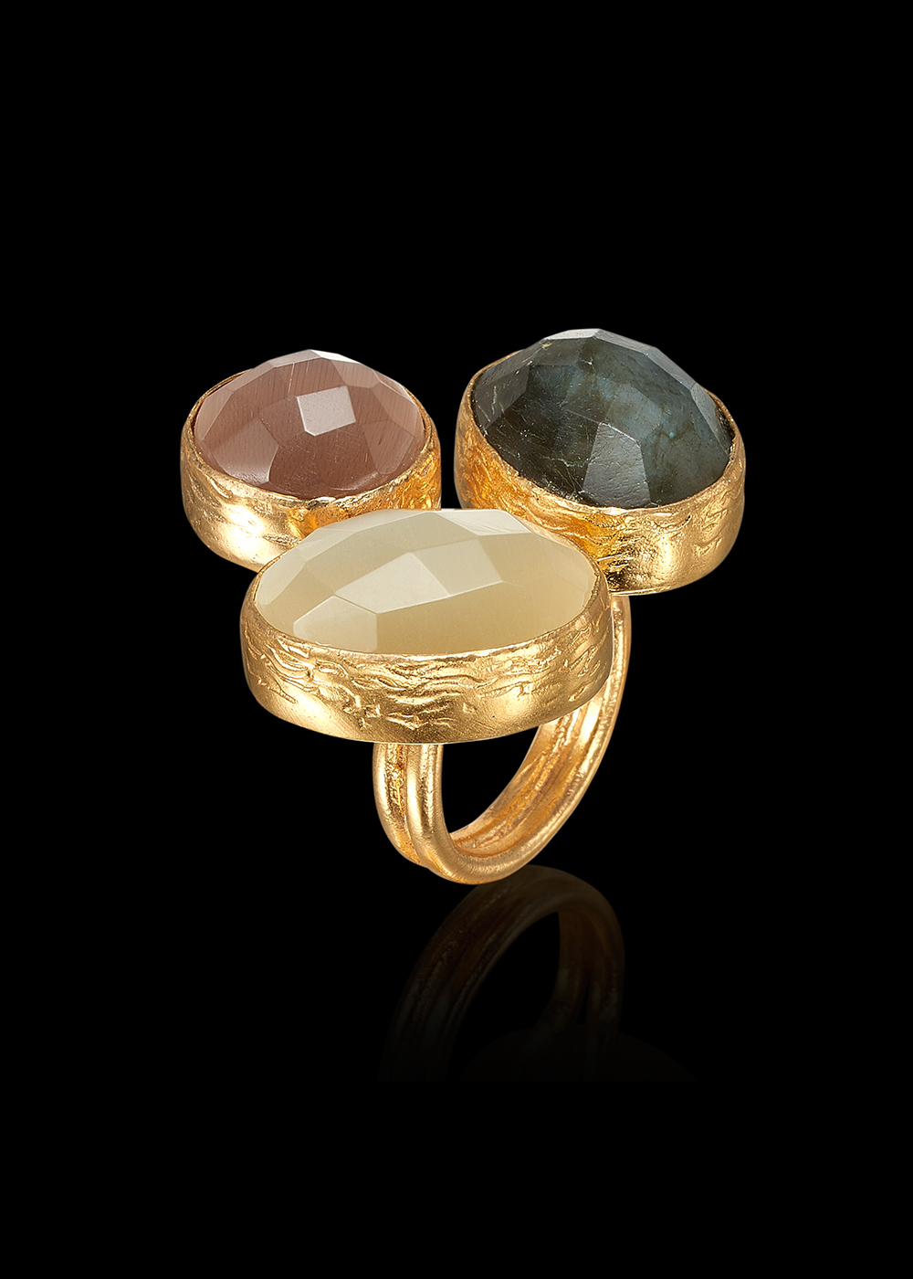 KYBRA ring with Smokey Topaz, White Calcedonia and Labradorite